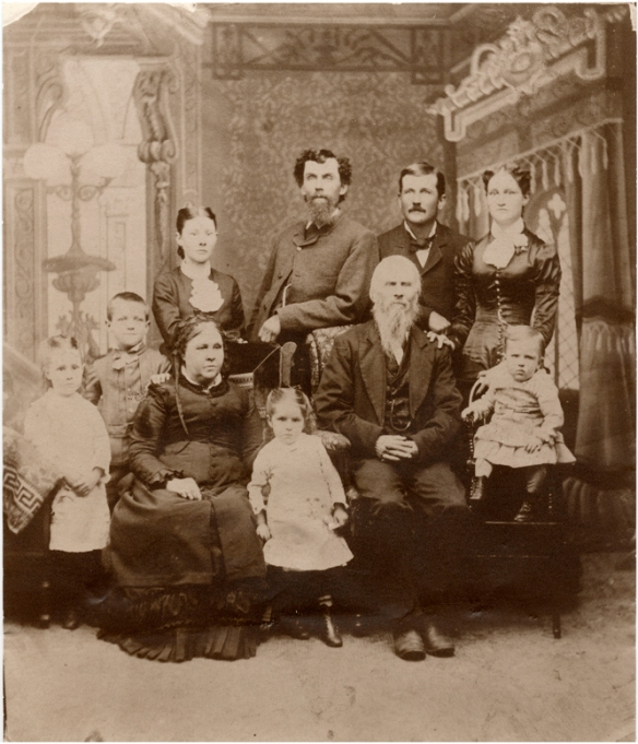 Standing Mamie English, Clifford Duncan, Eliza Duncan English, Frank English, James Cation Duncan, Nettie Patchen Duncan.  Seated:  Eliza Cation Duncan, Belle English, Thomas Duncan, Howard Duncan.  About 1882.