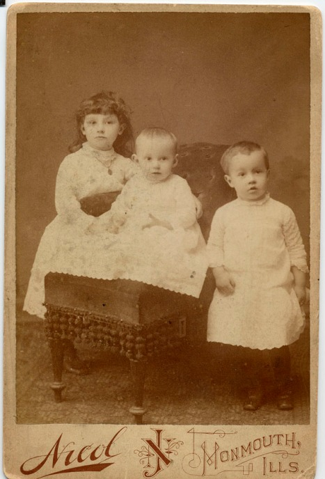 Eleanor, Louise, and Amos Claycomb, about 1888.