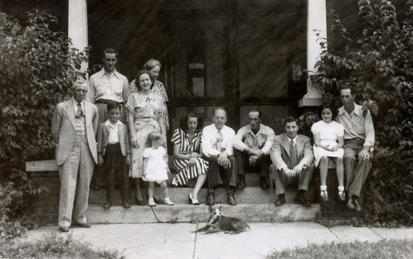 The family in Wayne 1948.L-R: Amos Claycomb; Frank (son) with Tom (grandson) in front; Harriet Duncan Claycomb with Donna (granddaughter) in front; Ruth Bressler Claycomb (wife); seated:  Barbara Claycomb Davis (daughter), Roy Davis, George Claycomb (son), Richard Claycomb (son), Jeanie  (granddaughter), John (son).
