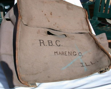 Canvas cover for the leather trunk that carried her things to Marengo from Wayne. 1912