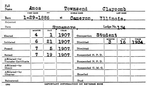 Record from the  Grand Lodge in Sycamore Illinois, Masonic Lodge Number 134.   After he was demitted from Sycamore in 1934, he was affiliated with the Lodge in Wayne Nebraska until his death.  He received his 50 year pin in 1957.