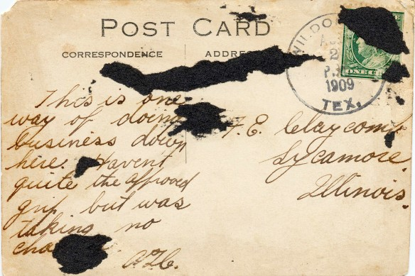 1909 postcard message from texas