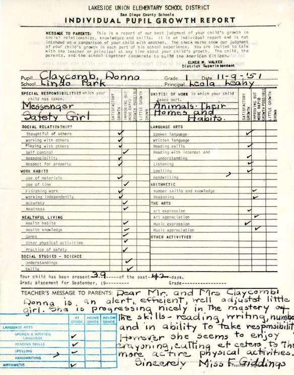 dlc 1st grade report