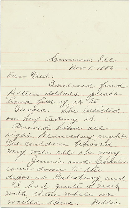 1886 Nov 8 letter Anna Sarah to Fred Townsend p1