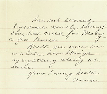 1886 Nov 8 letter Anna Sarah to Fred Townsend p2