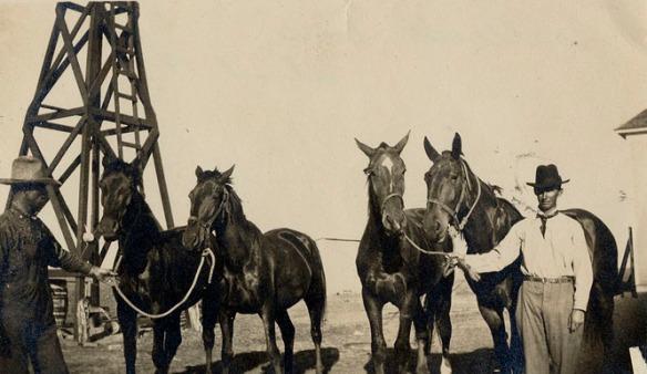 1910 men holding horses