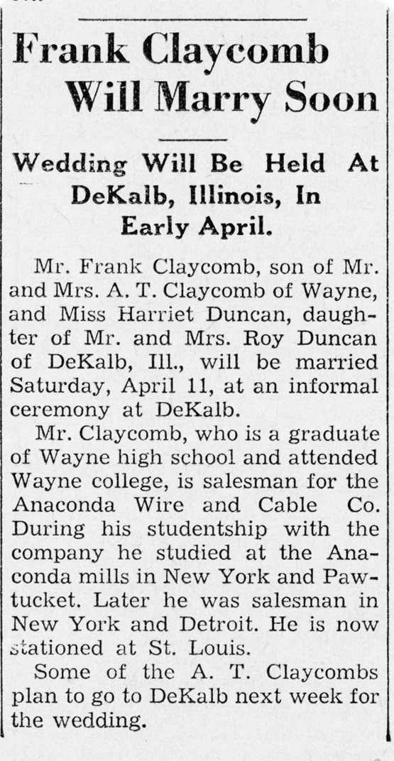 Announcement from The Wayne Herald, Wayne, Nebraska.