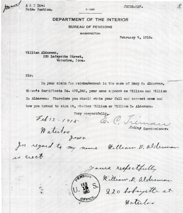 This is from a later pension file - 1915, but it shows William's signature and his name using the middle initial 'D'