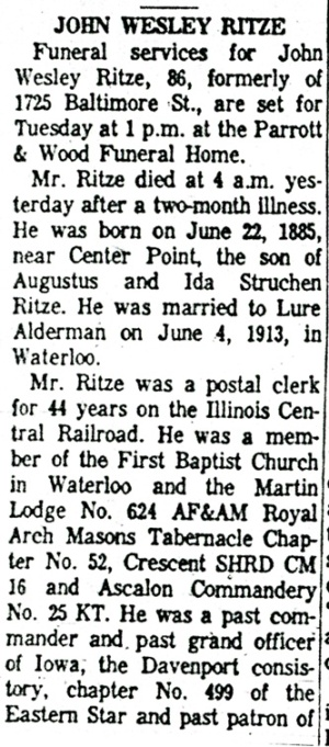 Partial obituary for John Ritze.