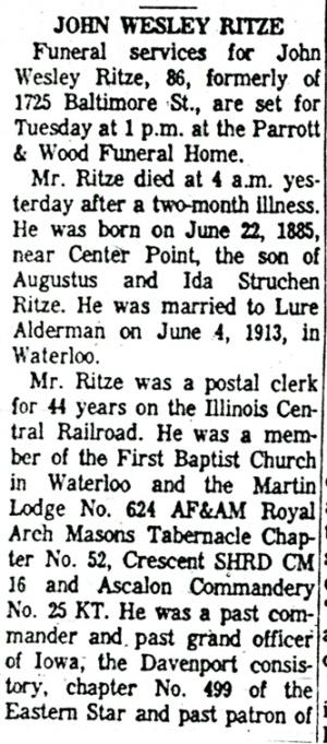 Partial obituary for John Ritze.