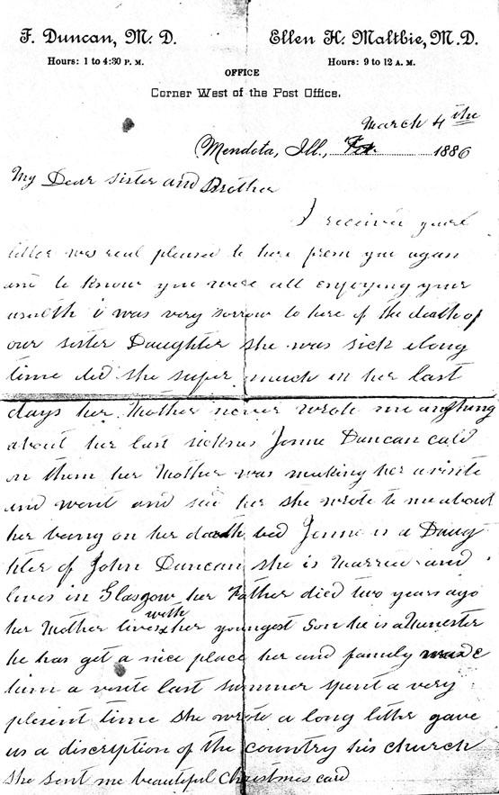 eliza duncan letter 1886