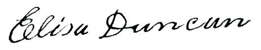 eliza duncan signature