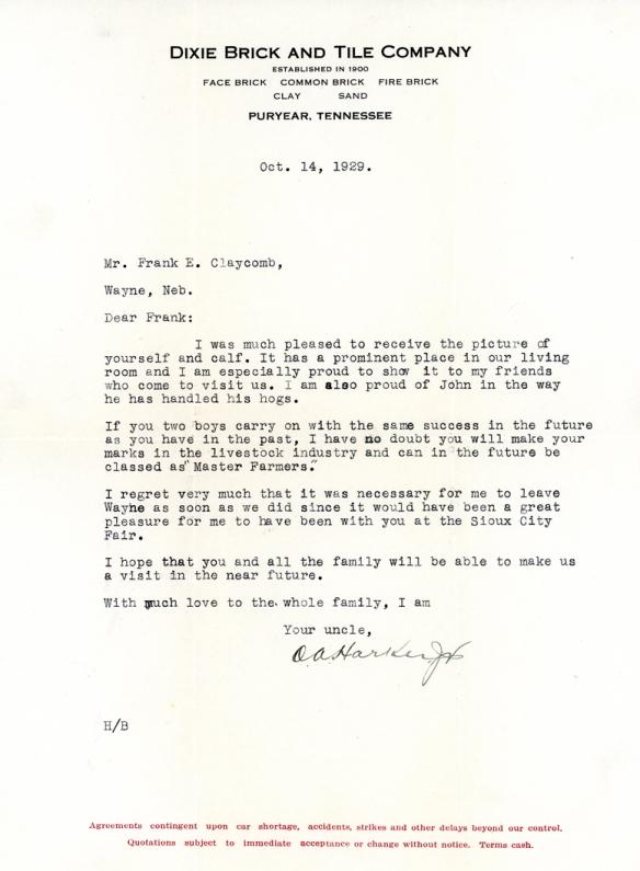 harker letter 1929