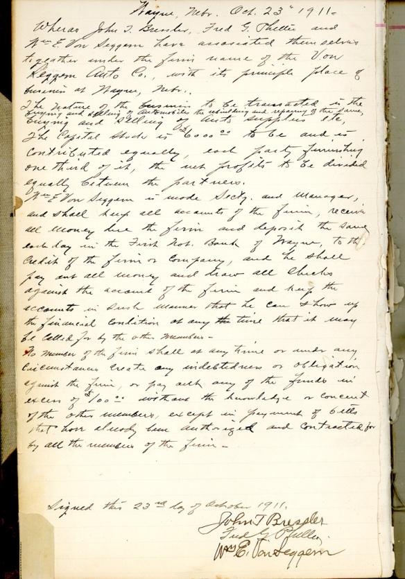 von seggern auto agreement 1911