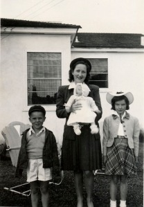 Tom, Harriet holding Donna, Jean.  1946 San Diego California