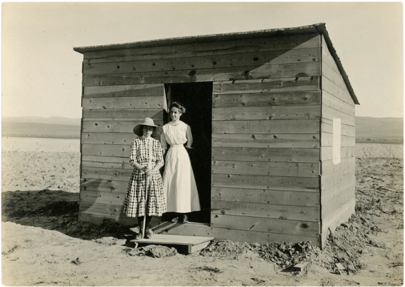 Hollister, Idaho, June 1911.  Ruth Bressler shack.  Dorothy Bressler in hat.