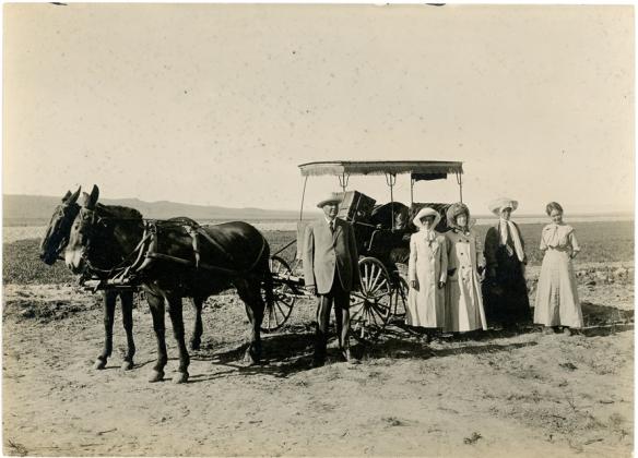 Holllister, Idaho, June 1911.  Mrs. Julia Fair Bressler and Dorothy Bressler leaving for Idaho Falls. L-R:  John T. Bressler, Dorothy Bressler, Mrs. Julia Bressler, Ruth Bressler, and Mrs. Hattie Craven.