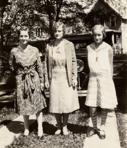 "Harriet, Helen, and Barbara Duncan on those ""skinny strips of cement."""